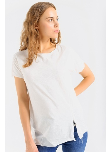 Jument Kadın Pamuklu Fermuar Detaylı Bluz Tshirt-Krem Krem
